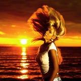 guld- hårrörelse Royaltyfri Foto