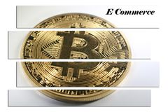 Guld- högkvalitativ Bitcoin Art With White Background With E-kommers Royaltyfria Foton