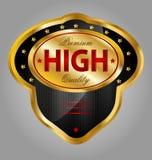 Guld- högvärdig kvalitets- produktetikett Royaltyfria Foton