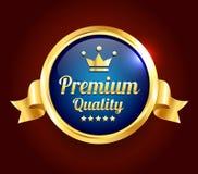 Guld- högvärdigt kvalitets- emblem stock illustrationer