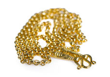 Guld- halsband 96 5 procent thailändsk guld- kvalitet med guld- krokisolat Arkivbilder