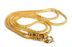 Guld- halsband 96 5 procent thailändsk guld- kvalitet med guld- krokisolat Fotografering för Bildbyråer
