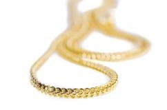 Guld- halsband 96 5 procent thailändsk guld- kvalitet som isoleras på vit Royaltyfri Foto