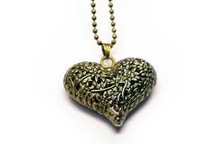 Guld- halsbandhjärta Arkivbild