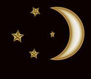 Guld- halvmånformig och stjärnor Royaltyfria Bilder