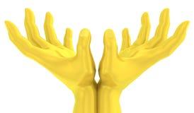 guld- handgest för lotusblomma 3D stock illustrationer