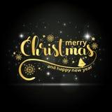 Guld- handskriven bokstäver för glad jul Arkivbild