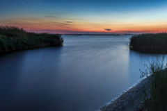 guld- havssolnedgång royaltyfri fotografi