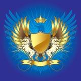 Guld- heraldiksköld med hästen Arkivbild