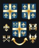 guld- heraldiskt för element stock illustrationer