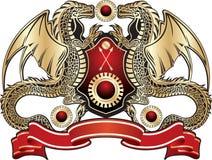 guld- heraldiskt tecken för drake Arkivbild