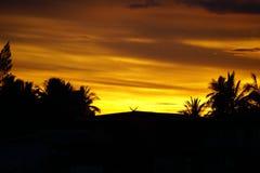 Guld- himmel för afton nära solnedgång Royaltyfri Foto