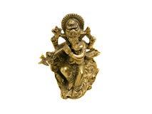 Guld- hinduisk gud Ganesh över en vit bakgrund Fotografering för Bildbyråer