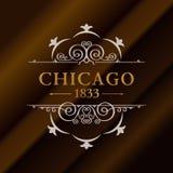 Guld- hipsteretikett för tappning med att märka Chicago Logomall för ditt tecken, affisch, kläder, emblem Royaltyfria Foton