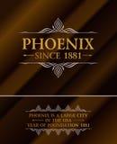 Guld- hipsteretikett för tappning med att märka Phoenix Logomall för ditt tecken, affisch, kläder, emblem Royaltyfri Foto