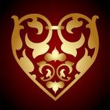 Guld- hjärta royaltyfri illustrationer