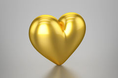 guld- hjärta 3D Fotografering för Bildbyråer
