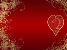 guld- hjärta för arabesquedesign Arkivbilder