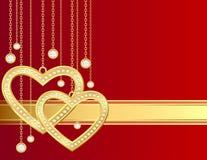 guld- hjärta för briljantar Royaltyfri Bild