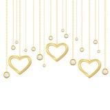 guld- hjärta för briljantar Royaltyfri Fotografi