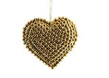 guld- hjärta för jul arkivfoto