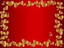 guld- hjärta för ram Arkivbild