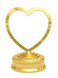 Guld- hjärta formad pris med den blanka plattan Arkivbilder