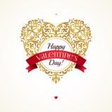 Guld- hjärta, hälsningar för dag för valentin` s stock illustrationer