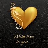 Guld- hjärta med den lockiga dekoren på den mörka bakgrunden Arkivbilder