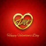 Guld- hjärta med förälskelsetext, valentin dagvykort, vektor Royaltyfri Foto
