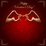 Guld- hjärta med vingar stock illustrationer