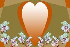 Guld- hjärta och vita blommor på en abstrakt geometrisk bakgrund royaltyfri bild