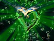 Guld- hjärta på en grön bakgrund vektor illustrationer