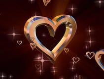 Guld- hjärta på purpurfärgad bakgrund vektor illustrationer