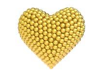 guld- hjärtaform för sfärer 3d Arkivbild