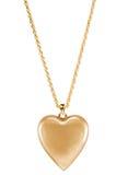 Guld- hjärtahänge Arkivfoton