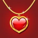 guld- hjärtahalsbandruby Royaltyfria Bilder