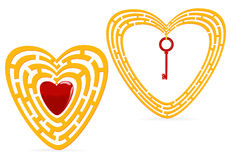 guld- hjärtamaze Arkivbild