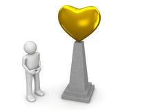 guld- hjärtamonument Royaltyfria Bilder