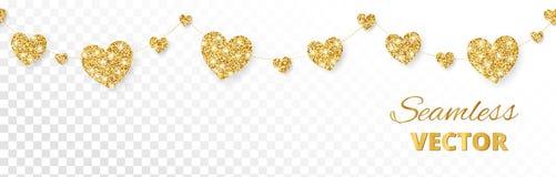 Guld- hjärtaram, sömlös gräns Vektorn blänker på vit bakgrund Royaltyfria Bilder
