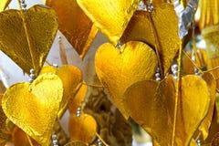 Guld- hjärtatempel Royaltyfri Fotografi