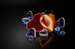 guld- hjärtor Arkivfoto