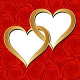 Guld- hjärtor Fotografering för Bildbyråer