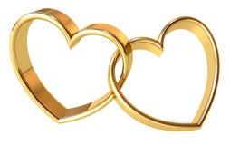 Guld- hjärtor Arkivfoton