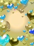 guld- hjärtor för bakgrund Arkivbild