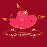 Guld- hjärtor Valentindag, förälskelsemeddelande Arkivbilder