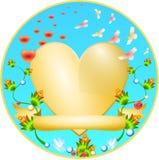 guld- hjärtaprydnad för blomma Royaltyfri Foto