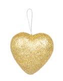 Guld- hjärta för julgarnering som isoleras på vit Arkivbilder