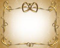 guld- hjärtainbjudanbröllop Fotografering för Bildbyråer