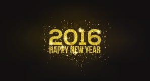Guld- hälsningkort för lyckligt nytt år 2016 Fotografering för Bildbyråer